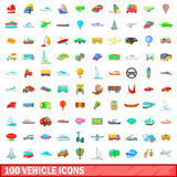 100 vehicle icons set, cartoon style. 100 vehicle icons set in cartoon style for any design vector illustration Stock Image