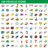 100 vehicle icons set, cartoon style. 100 vehicle icons set in cartoon style for any design vector illustration Stock Photos