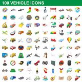 100 vehicle icons set, cartoon style. 100 vehicle icons set in cartoon style for any design illustration stock illustration