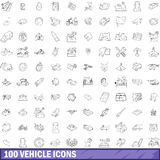 100 vehicle icons set, outline style. 100 vehicle icons set in outline style for any design vector illustration Stock Photography