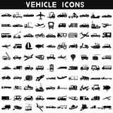 Vehicle icons. Set of 100 silhouette vehicles, transportation icons royalty free illustration