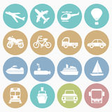 Vehicle  icons set. Vector white icons vehicle set 16 with color circle Royalty Free Stock Image