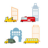 Vehicle and industrial buildings. Fire truck and tow truck. School bus and school. Set of childrens toy car Stock Image