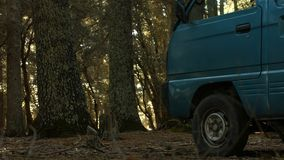 A vehicle inside the jungle in the Moroccan Atlas stock photography