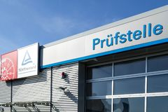 Vehicle inspection point of TUV Rheinland. Founded in 1872, TUV Rheinland is one of the world's leading testing service providers Royalty Free Stock Photography