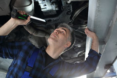Vehicle inspection station, a car for technical inspection. Stock Image