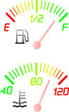Vehicle instrument gauges. Two vehicle instrument gauges including fuel and water temperature Royalty Free Stock Photos