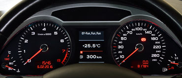 A vehicle instrument panel Royalty Free Stock Image