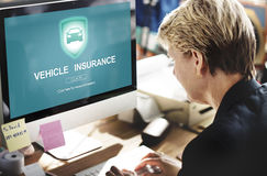Vehicle Insurance Accident Damage Protection Concept. Business Woman Login Vehicle Insurance Accident Damage Protection Stock Image
