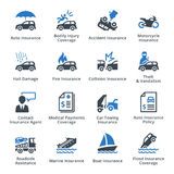 Vehicle Insurance - Blue Series. This set contains 16 vehicle insurance icons that can be used for designing and developing websites, as well as printed Royalty Free Stock Image