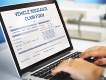 Vehicle Insurance Claim Form Benefit Concept. Businesswoman Using Computer Notebook Vehicle Insurance Claim Form Benefit Stock Photography