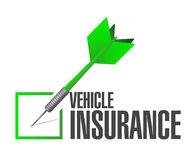 Vehicle insurance dart check mark Royalty Free Stock Image