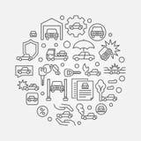 Vehicle insurance outline illustration Royalty Free Stock Image