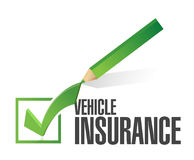 vehicle insurance pencil check mark Royalty Free Stock Image