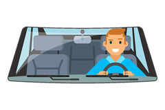 Vehicle interior driver car wheel ride driving isolated flat design vector illustration Royalty Free Stock Image
