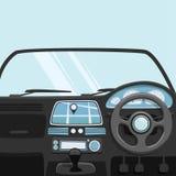 Vehicle interior. Inside car. Vector cartoon illustration. Car poster. Cartoon style. Driver behind the wheel Stock Photos