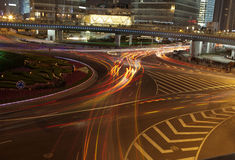 Vehicle light track  in morden shanghai city Royalty Free Stock Photos