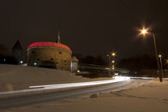 Vehicle light trails in Tallinn, Estonia Royalty Free Stock Images