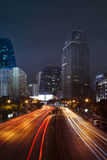 Vehicle lighting on urban road and building against night scene. Sky of bangkok thailand royalty free stock photos