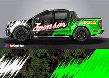 Race car livery graphic vector. abstract grunge background design for vehicle vinyl wrap and car branding stock illustration