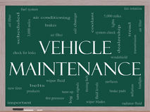 Vehicle Maintenance Word Cloud Concept on a Blackboard Royalty Free Stock Photos