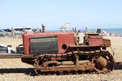 Vehicle with Metal Tracks. To Haul boats on the beach Royalty Free Stock Photography