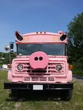 Vehicle: modified pink school bus stock image