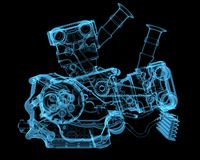 Vehicle motor. (3D xray blue transparent Royalty Free Stock Images