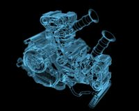 Vehicle motor. (3D xray blue transparent Royalty Free Stock Image