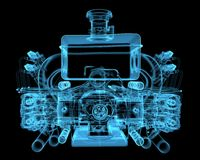 Vehicle motor. (3D xray blue transparent Stock Photography