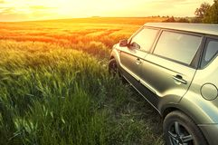 Vehicle on a nature field as  concept eco techno Stock Photo