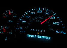 Vehicle over speed warning light Stock Image