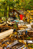 Vehicle parts and autumn color in a junkyard. Stock Photography
