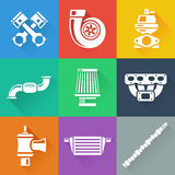 Vehicle performance car parts flat icons set Royalty Free Stock Photos