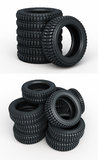 Vehicle perspective stacked tires Royalty Free Stock Image