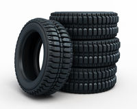 Vehicle perspective tires. Vehicle tires collected (3d rendering,  on white and clipping path Royalty Free Stock Photos