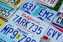 Vehicle registration plate of the united states of america royalty free stock images