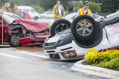 Vehicle Rollover at Major Intersection royalty free stock images