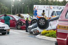 Vehicle Rollover at Major Intersection Stock Photography