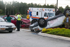Vehicle Rollover at Major Intersection stock photo