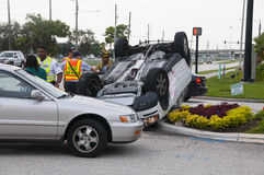 Vehicle Rollover at Major Intersection Stock Image