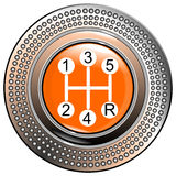 Vehicle's  car lever gear orange 5 speeds vector Royalty Free Stock Photography