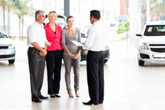 Vehicle salesman family Stock Image