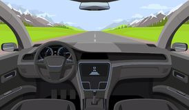 Vehicle salon, inside car driver view with rudder, dashboard and road, landscape in windshield. Driving simulator vector. Illustration. Car view steering and stock illustration