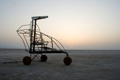 A vehicle in salt desert Royalty Free Stock Photos