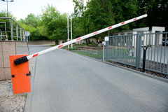 Vehicle security barrier. Entrance to the car park Stock Images