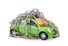 Vehicle security with padlock and chain Stock Images