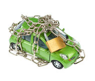 Vehicle security with padlock and chain Royalty Free Stock Photography