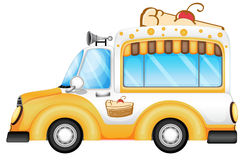 A vehicle selling cakes. Illustration of a vehicle selling cakes on a white background Royalty Free Stock Photo
