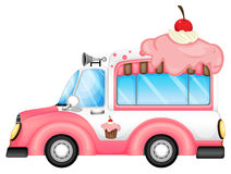 A vehicle selling desserts. Illustration of a vehicle selling desserts on a white background stock illustration
